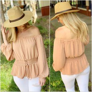 Camel corset waist tunic